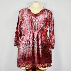 Oneworld Paisley Sequin Velour Tunic Shirt